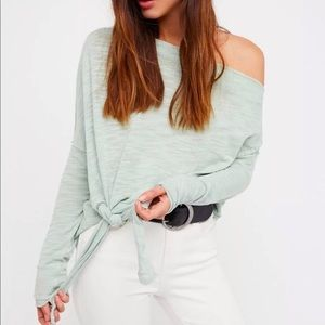 Free People Love Lane Off the Shoulder Tee in Moss